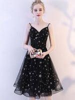 Stars Sequined V-Neck Sleeveless A-Line homecoming dress cg477