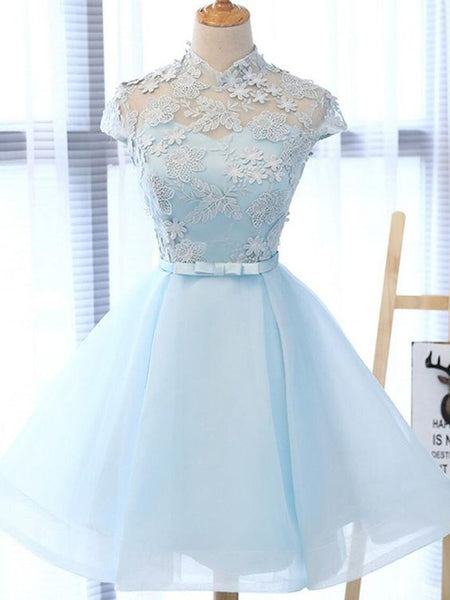 Chic Light Sky Blue Homecoming Dress Tulle High Neck Homecoming Dress Party Dress  cg479