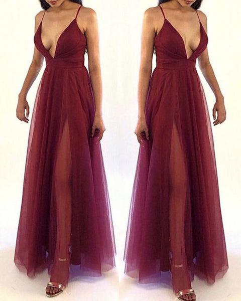 tulle prom dress,burgundy prom dress,sexy prom dress cg4802