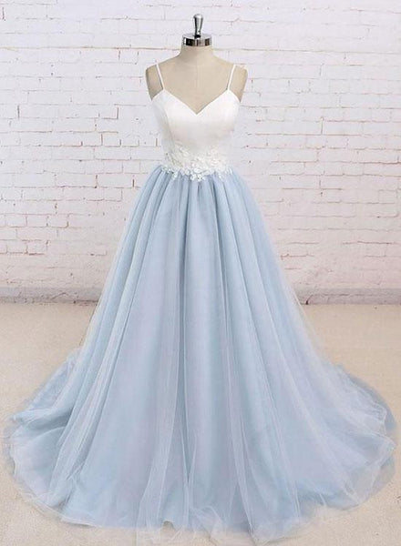 Simple v neck baby blue long prom dress, evening dress cg480