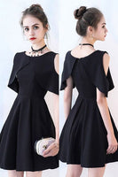 Little black cold shoulder homecoming dress , short homecoming dress cg481