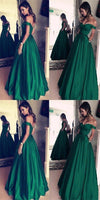 Green Off The Shoulder Prom Dress, Satin Prom Dress, Charming Prom Dress, Elegant Prom Dress cg488