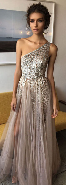 One Shoulder Sexy Side Slit Heavily Beaded Sparkly Long Evening Prom Dresses cg492