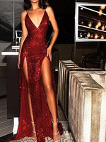 Sparkly Prom Dresses Burgundy V-neck Long Prom Dress with Slit Sexy Evening Dress cg493