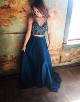 blue two pieces long prom dress, blue evening dress, formal dress cg496