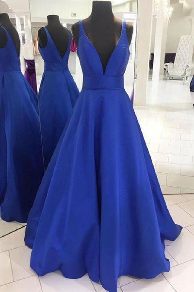 Long Prom Dresses Simple Blue V Neck Long Prom Dress, Blue Evening Dress cg497