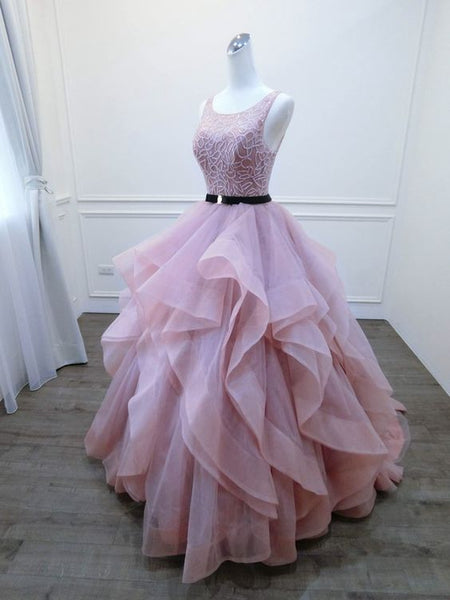 Sexy Open Back Blush Pink Prom Gown,Colorful Wedding Dress cg499