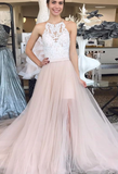Champagne tulle lace long prom dress, champagne evening dress cg5019