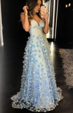 Blue tulle lace long prom dress, blue tulle formal dress cg5020