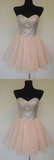 Pink sweetheart tulle short party dress, homecoming dress cg5023