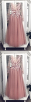 Pink tulle lace long prom dress, pink tulle formal dress cg5025