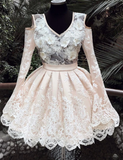 Champagne v neck lace short party dress, lace homecoming dress cg5029