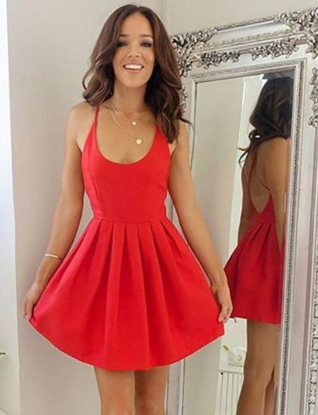 Sexy Spaghetti Straps Backless Short Red Pleated Homecoming Dress cg502