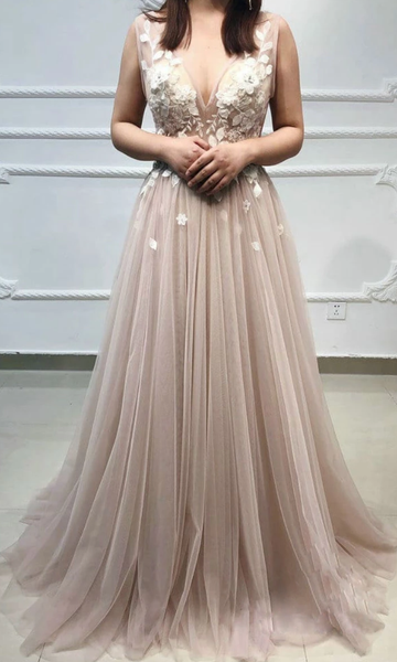 Champagne v neck tulle lace long prom dress, tulle evening dress cg5030