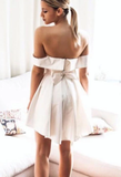 Simple cute satin short party dress, homecoming dress cg5032