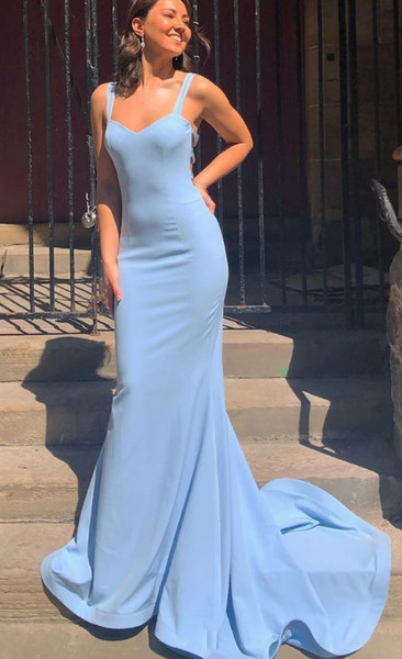 Blue satin mermaid long prom dress, blue evening dress cg5033