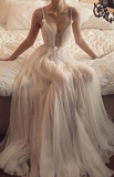 Simple champagne tulle long prom dress, champagne tulle evening dress cg5034