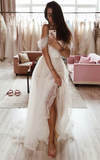 Simple white tulle long prom dress, tulle evening dress cg5036