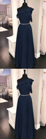 Simple chiffon dark blue long prom dress, bridesmaid dress cg5037