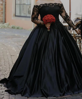 Black Wedding Dress Plus Size Ball Gown Lace Long Sleeves prom dress cg5042