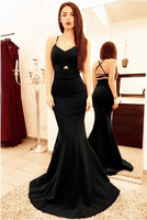 Black mermaid prom dresses open back satin gown cg5046