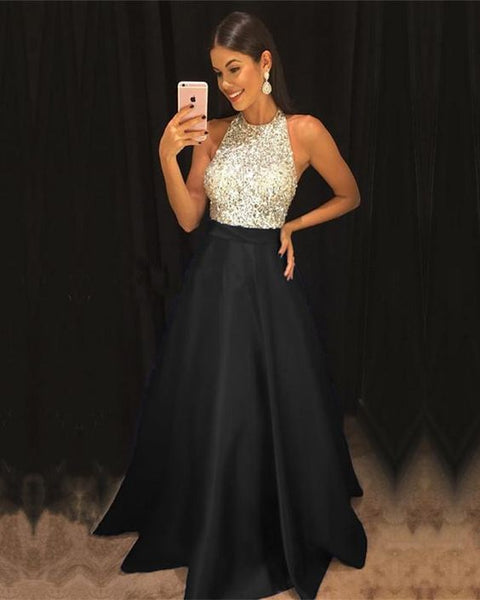 Sparkly Sequins Beaded Halter Long Satin Prom Dresses cg5049