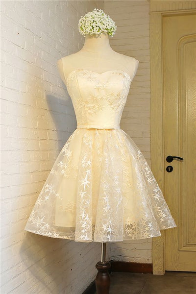 champagne short party dress, homecoming dress, fashion girl dress cg5055