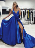Simple blue v neck satin long prom dress, evening dress cg5058