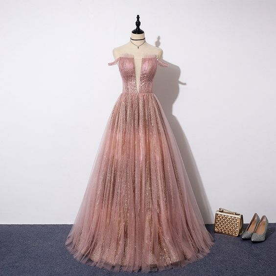 Sparkling pink tulle sequins long prom dress, evening dress cg5059
