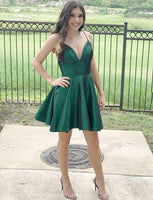 Simple Green Short Homecoming Dresses Spaghetti Straps Party Dresses cg505
