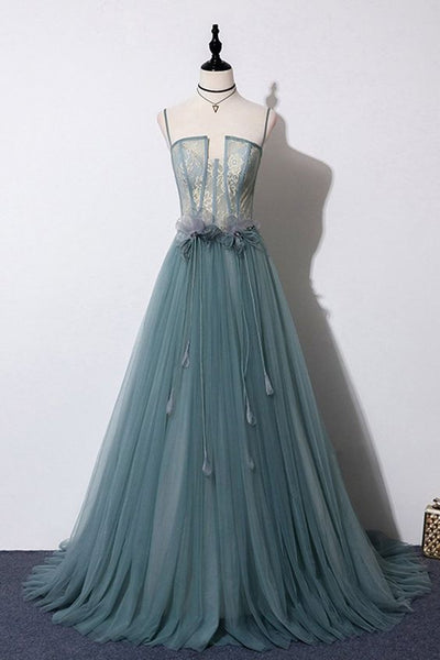 Green Gray Tulle Lace Top Long Strapless Handmade Prom Dress With Applique cg5060