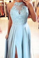 Light Blue Chiffon Bridesmaid prom Dresses With Halter Neck  cg5061