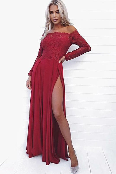 Sexy A Line Off the Shoulder Long Sleeve Dark Red Prom Dress with Lace High Split cg5062