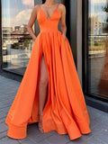 A Line V Neck Orange Long Prom Dress with Leg Slit cg5063