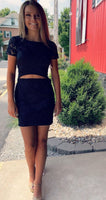 navy short homecoming dresses, fashion cut out short party dresses, short sleeves homecoming dresses for teens  cg5064