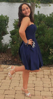 navy blue short homecoming dresses, unique homecoming dresses with pockets cg5066