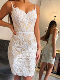 Sheath Spaghetti Straps Above-Knee White Lace Homecoming Dress cg5068