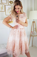 A-Line Round Neck Short Sleeves Knee-Length Pink Homecoming Dress with Appliques cg5071