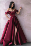 Simple burgundy satin long prom dress burgundy evening dress  cg5075