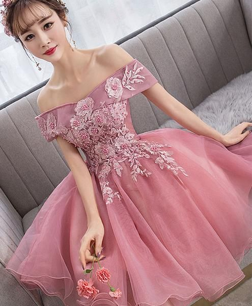 Pink tulle lace short party dress pink lace homecoming dress cg5078