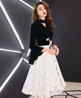 Black tulle lace short homecoming dress lace evening dress cg5079