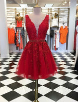 Short Red Homecoming Dresses Deep V Neck Appliques Beading cg507