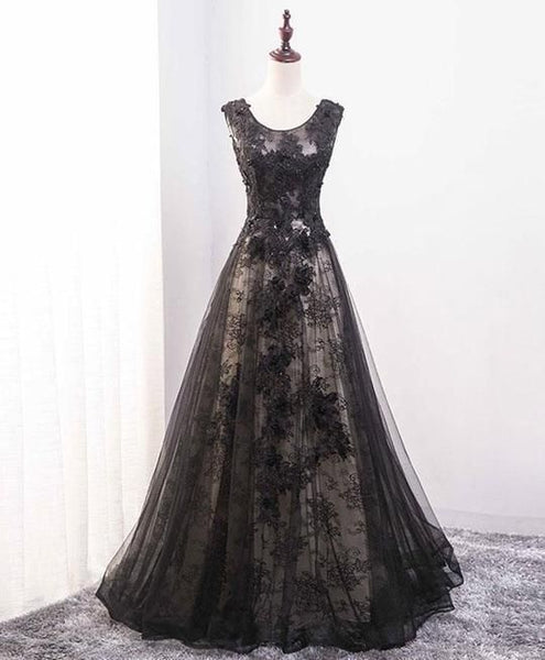 Elegant Black Lace Scoop A-line Floor Length Party prom Dress, Black Formal Dress  cg5081