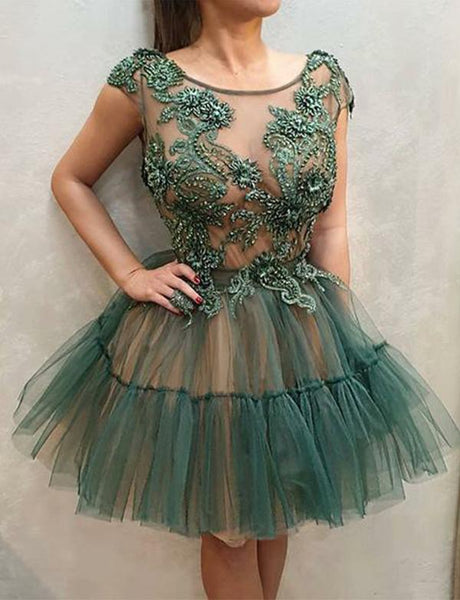 Green Short Homecoming Dresses Round Neck Appliques Party Dresses cg508