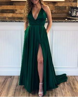 Sexy Long Satin Halter Prom Dresses Leg Split Formal Gowns cg5091