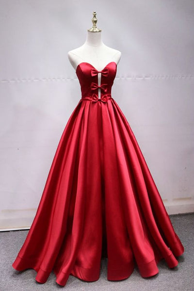 Sweetheart Neck Red Satin Lace Up Long Prom Dress With Bowknot  cg5099