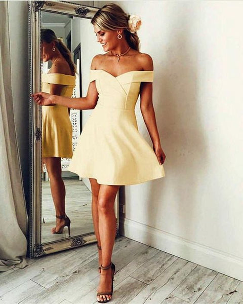 Short Satin Homecoming Dresses Off Shoulder Party Cocktail Dress  cg5105