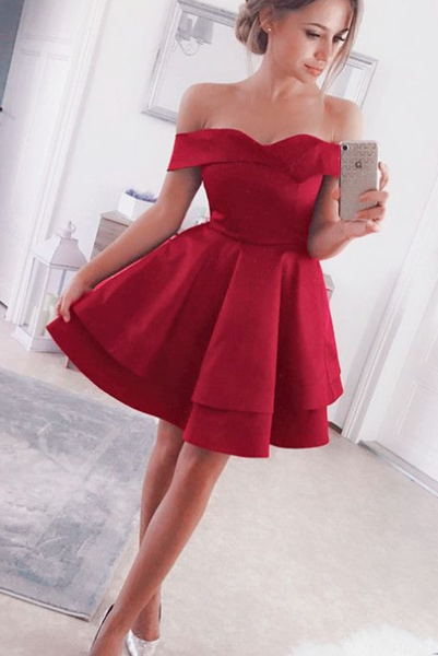 short satin cocktail dress ofd shoulder homecoming party gown cg5106