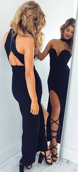 Black Prom Dress,Sexy Sweetheart Evening Dress,Halter Party Dress Split at lower part of dress cg5111
