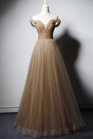 Deep Champagne Off Shoulder Crystal Beaded Long A Line Prom Dress cg5113